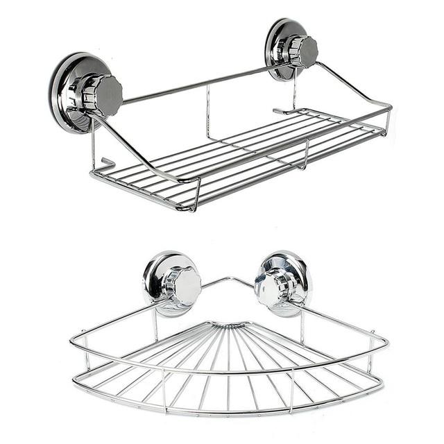 Bathroom Shelf Storage Rack Stainless Steel Shelf Punch Free Firm Shower Kitchen Fitted Wall Storage Organizer Rack