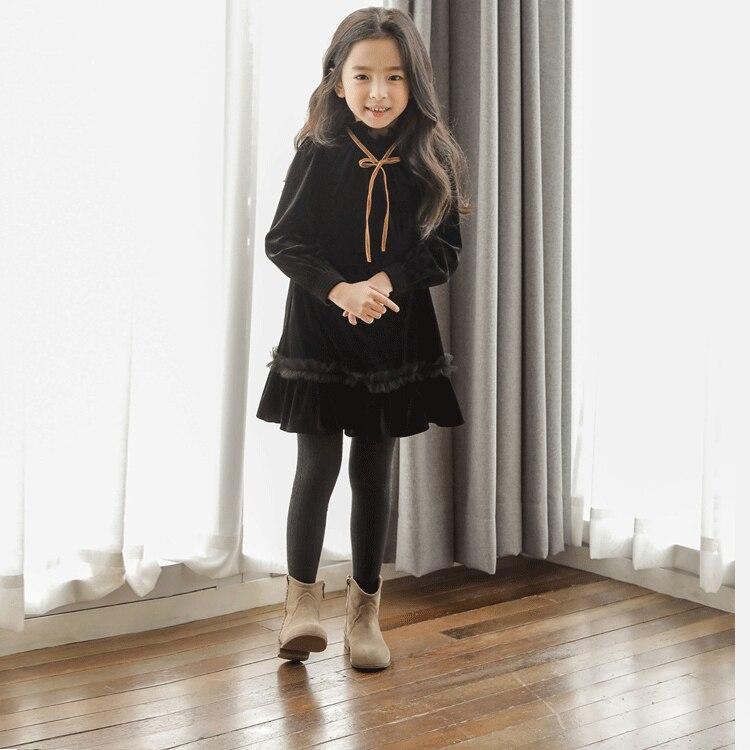 Зимнее платье с длинными рукавами для девочек; теплое бархатное осенне осеннее платье для девочек подростков в Корейском стиле; свитер на Хэллоуин; черное платье принцессы для подростков; 2019