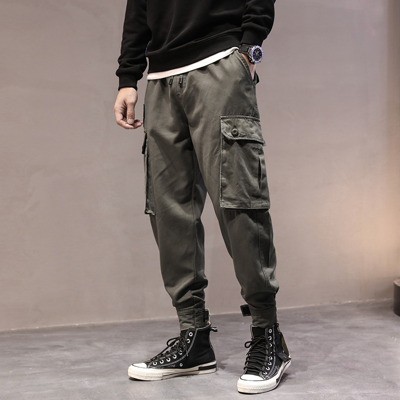 2019 New Style Men's Wear Teenager Sports Casual Capri Pants Pure Cotton Versatile Multi-pockets Large Size Bib Overall
