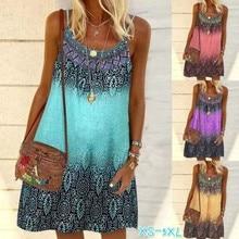 S-5XL Summer Women Beach Dress Printed Sling Ladies Loose Bohemian Dresses A-Line Holiday Plus Size Dress Vestidos 2021