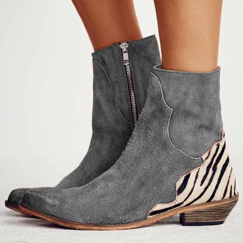 Vrouwen Laarzen Enkel Korte Laarzen Flock Puntschoen Lage Hakken Winter Booties Vrouw 2019 Slip op Vrouwen Martin Laarzen Western schoenen