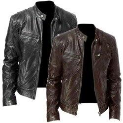 Мужская кожаная куртка деловой кардиган на молнии с карманом из искусственной кожи с воротником-стойкой тонкая кожаная куртка