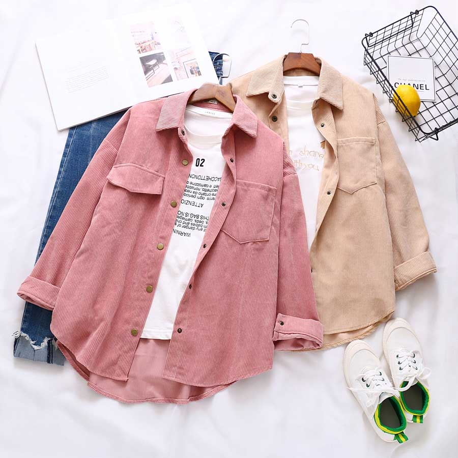 DIOROBBEN Womens tops And Blouses autumn casual long sleeve Vintage Blouse fashion Turn-Down Collar plus size Corduroy Shirts(China)
