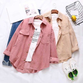 DIOROBBEN large size Corduroy shirt 2020 autumn long sleeve blouse vintage Womens tops fashion turn-down collar women's blouses long sleeve corduroy button down shirt