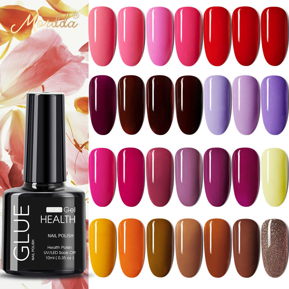 Mordda 10Ml Gel Nagellak Glitter Voor Manicure Set Nail Art Semi Platium Uv Led Lamp Nail Vernissen Base top Coat Gel Lak