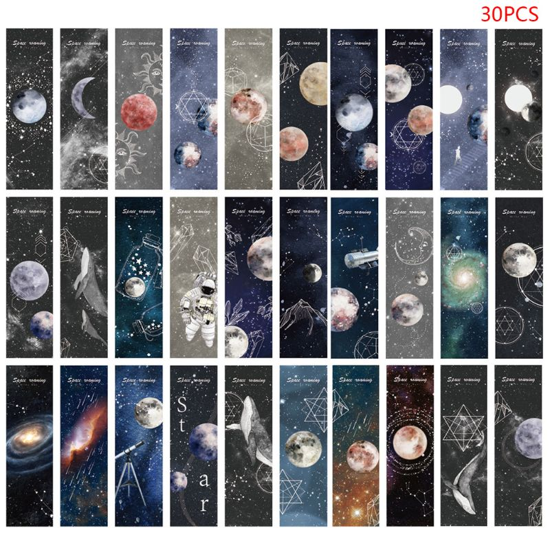 30pcs Planet Bookmarks Paper Page Notes Label Message Card Book Marker School Supplies Stationery