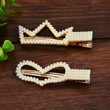 Korea White Pearl Barrettes for Women Bridal Hair Accessories Mujer Elegant Jewelry Hair Grips Hair Pins Coronas Y Tiaras Mujer