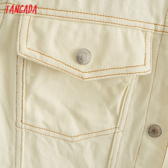 Tangada Women Solid Denim Short Dress Pocket Sleeveless 2021 Fashion Lady Elegant Dresses Vestido YI10 4