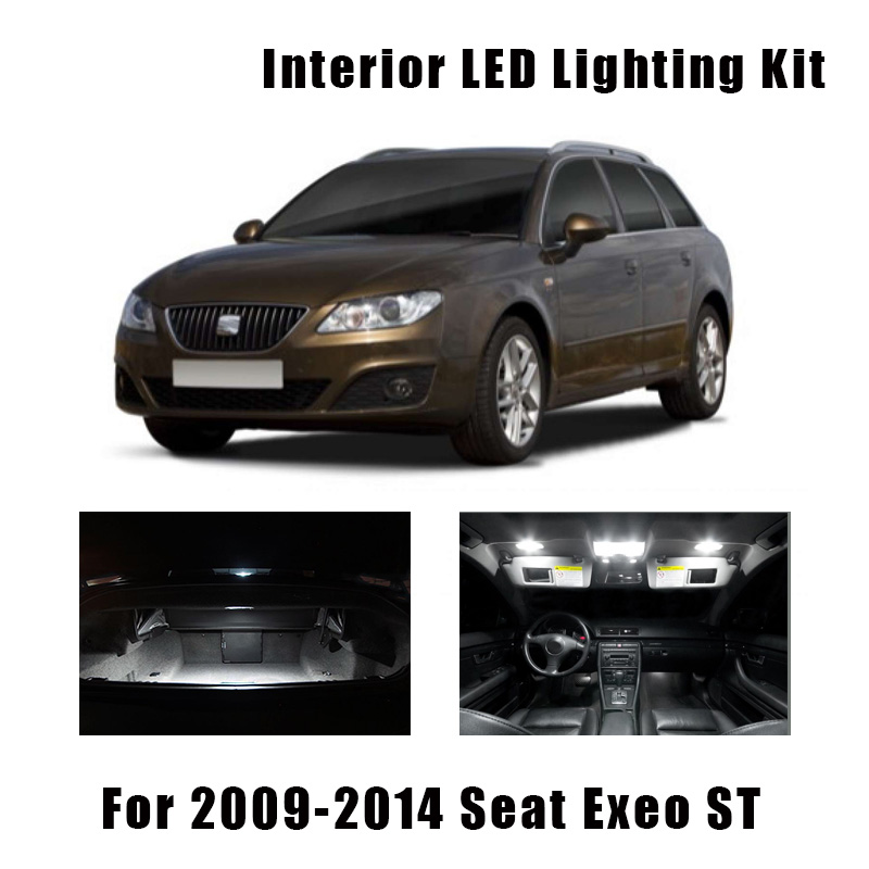 19pcs White Canbus Car Accessories LED License Plate Lamp Map Dome Trunk Light Interior Kit For 2009-2014 Seat Exeo ST