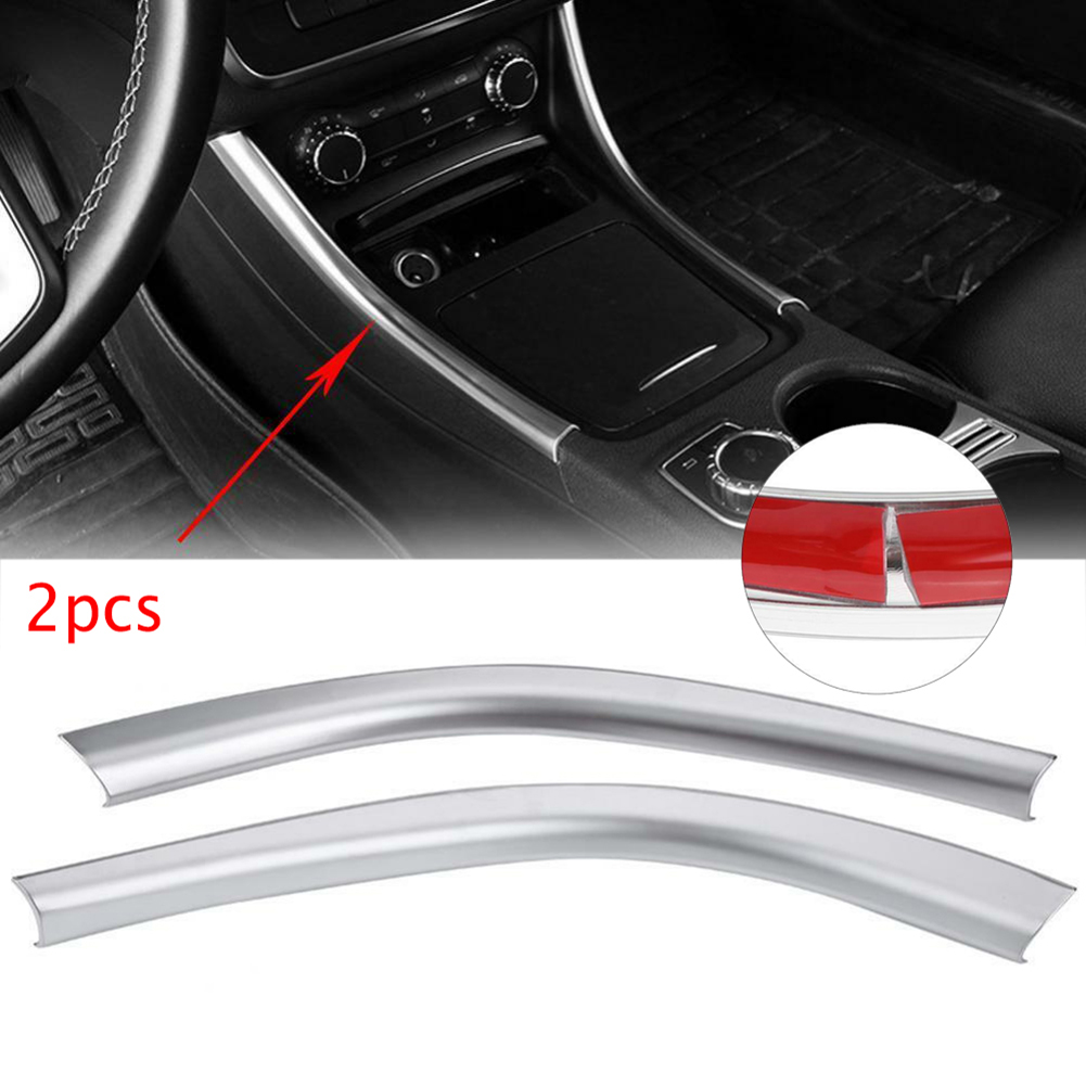 2X Center Control Side Strips Cover Trim Sticker For <font><b>Mercedes</b></font> Benz A CLA GLA Class <font><b>W176</b></font> C117 X156 2013-2018 Car <font><b>Interior</b></font> Styling image