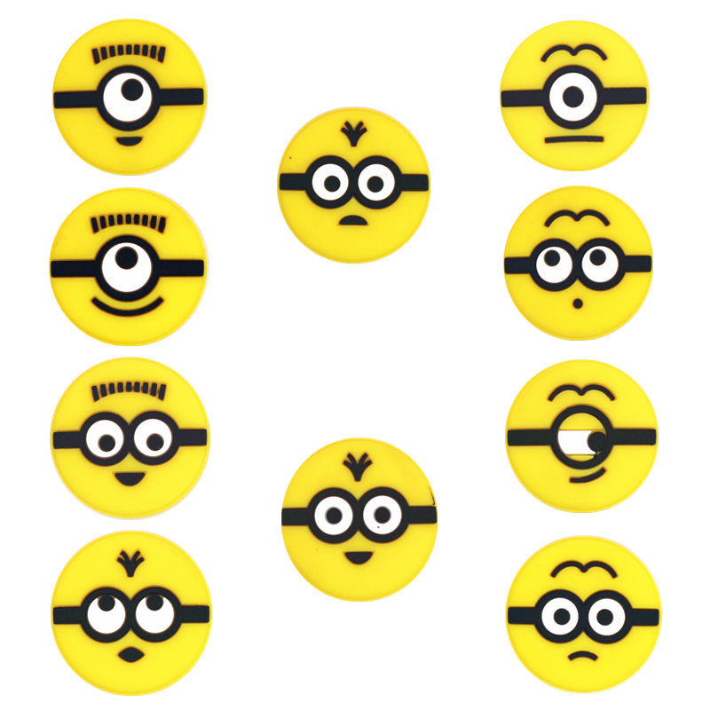 Novelty 10Pcs/Lot PVC Shoe Decorations 10 Different Minion Emoticons Charms Accessories Buckles Fit Bands Croc JIBZ Kids Gifts