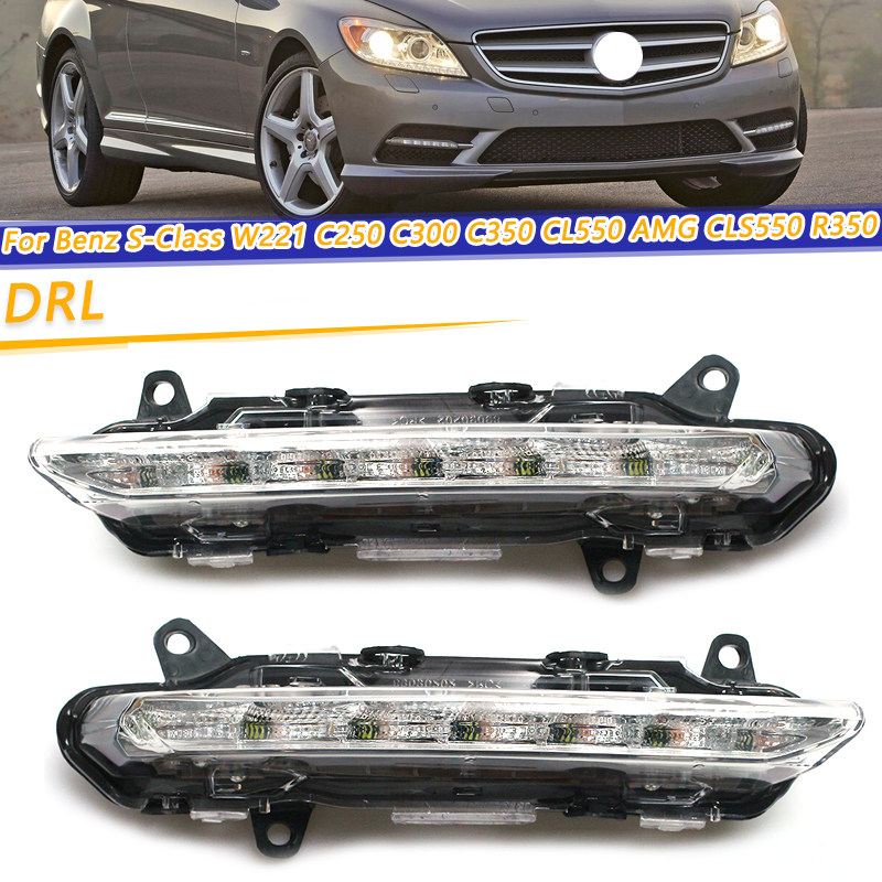 ACAMPTAR Car LED DRL Daytime Running Lights Fog Lights for Mercedes S-Class W221 C250 C300 C350 CL550 AMG CLS550 R350