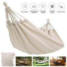 2m solid color White canvas Fabric hammock Rollover Prevention Hammock Patio Bed for Garden, leisure, camping and hiking