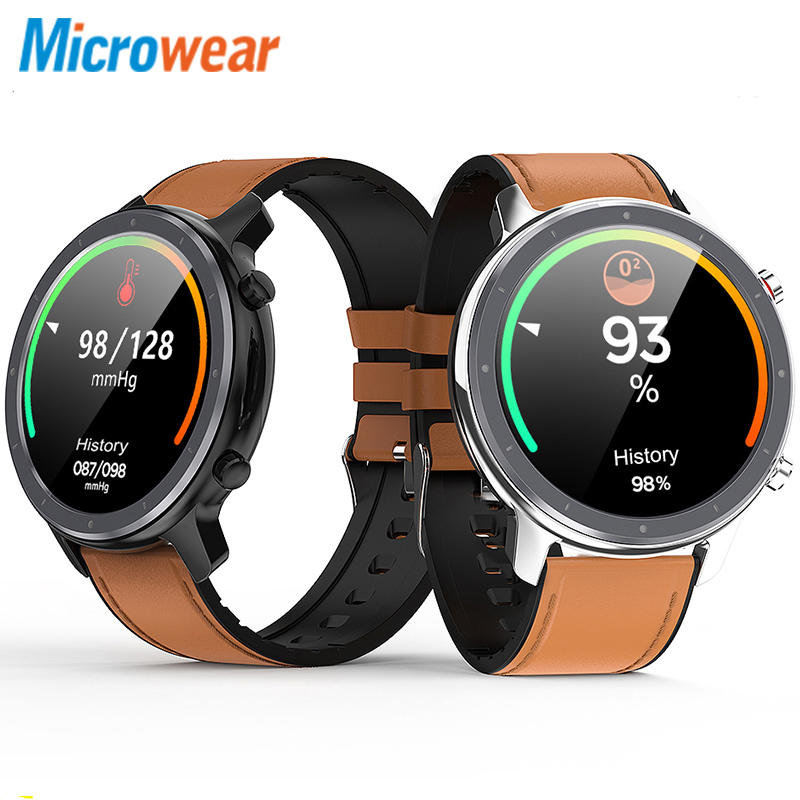Microwear L11 Ultra Thin HD Screen Weather Display Music Control Sport Tracker ECG Heart Rate Monitor Bluetooth Smart Watch