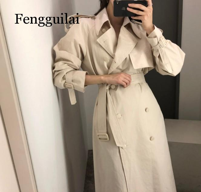 Overcoats Women Spring Windbreaker Pure Color Female Autumn Chic Double-breasted Long   Trench   Coat Slim Outwear