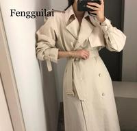 Overcoats Women Spring Windbreaker Pure Color Female Autumn Chic Double breasted Long Trench Coat Slim Outwear