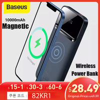 Baseus Power Bank 10000mAh Wireless Charger PD 20W Fast Charger External Battery Portable wireless charging For iPhone12 Series