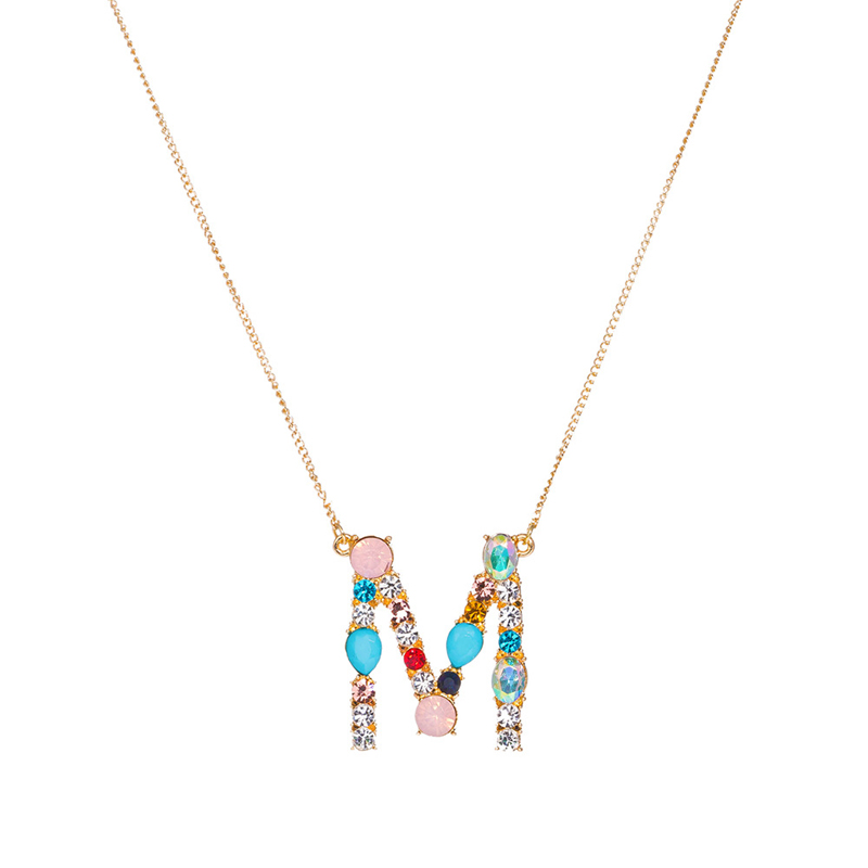 Fashion Charm Multicolor Initial 26 Alphabet Gold/Silver Color Necklace Micro Pave Zircon Initial Letter Necklaces Couple Name