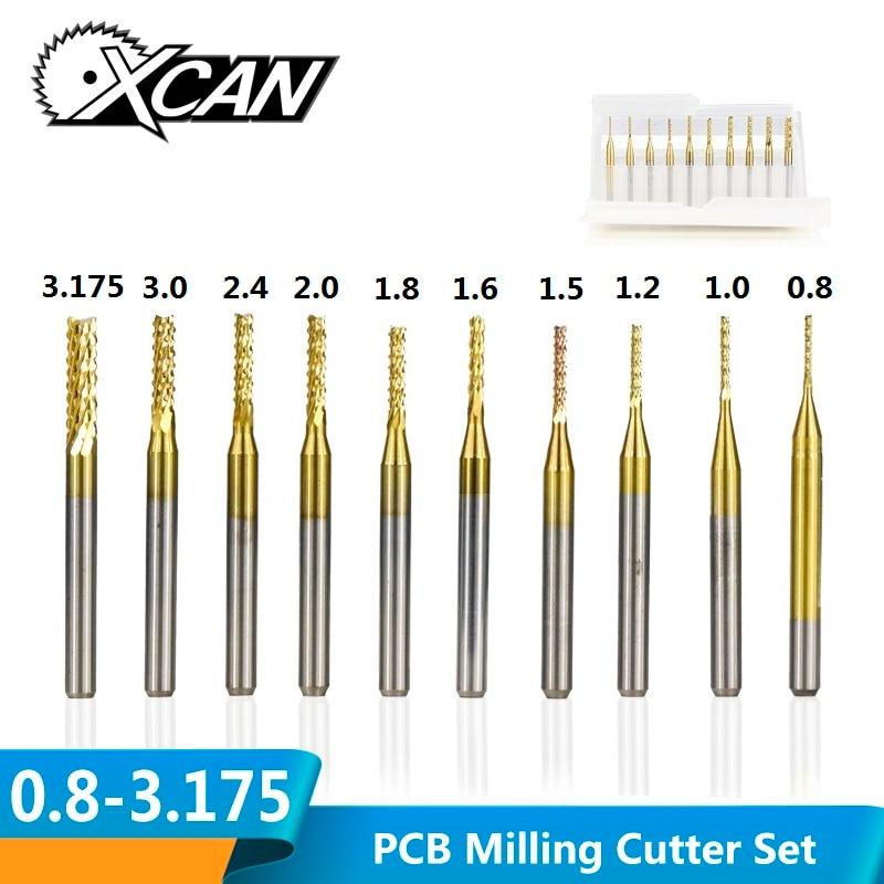 10 pces 0.8mm-3.175mm titânio revestido carboneto final fresa gravura cortador de borda cnc roteador bits fresa para a máquina do pwb