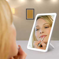 LED Cosmetic Mirror Touch Screen Makeup Mirror 180 Degree Rotating USB Charger Stand for Tabletop Bathroom Bedroom Travel