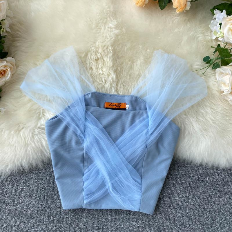 Women 2020 New Perspective Mesh Vest High Waist Short Crop Shirt Female Solid Color Sexy Blouse M380