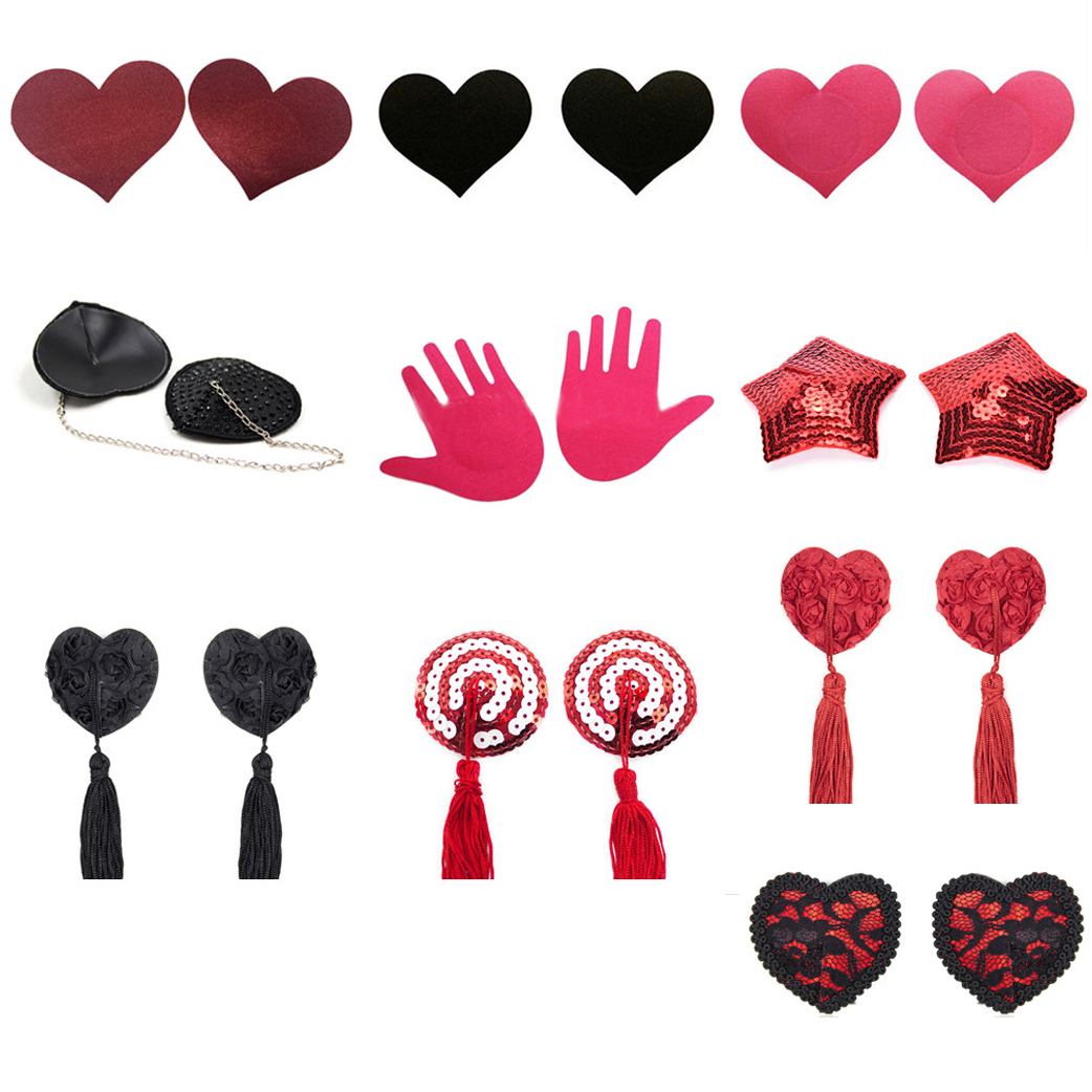 1 Pair Sequin Tassel Cover Heart Shape Bra Nipple Cover Lace Women  Sexy Self Adhesive  Pasties Breast Petals