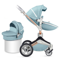 Hotmom luxury stroller 2 in 1 stroller baby pram baby car hadnd car shock absorbers car umbrella two way newborn leather