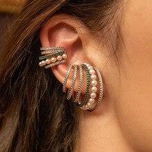 цена на Multi-turn Pearl Rhinestone Ear Cuff Bohemia CZ Wide Stackable Earcuffs Crystal Ear Climber Earrings For Women Wedding