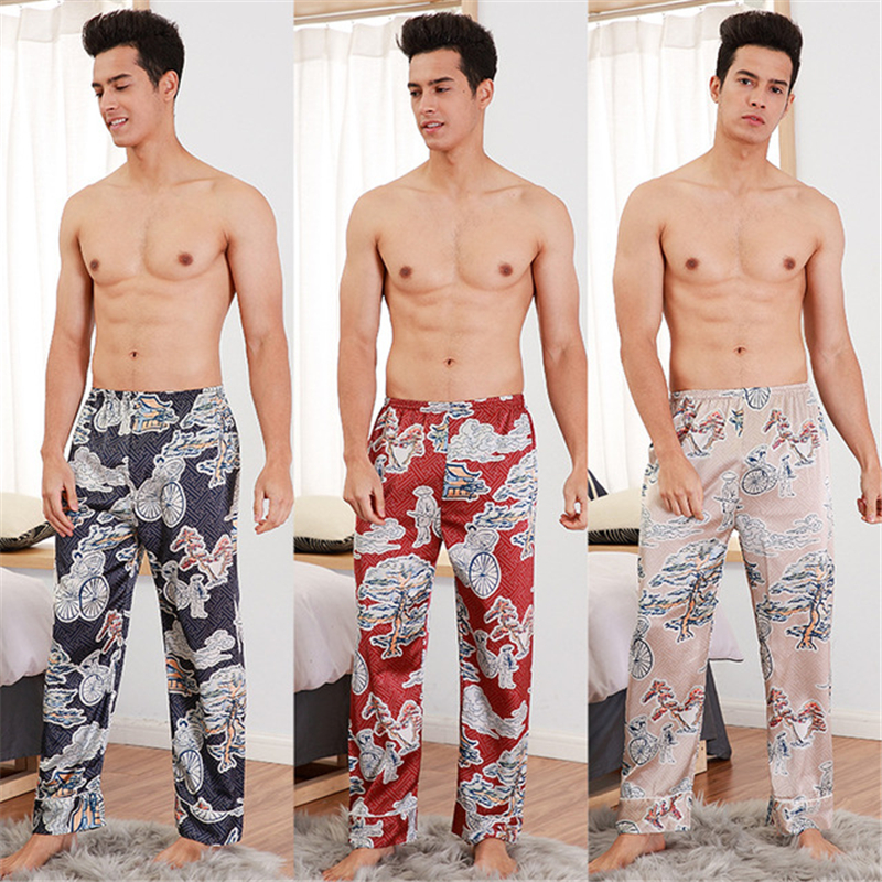 Men's Pants Summer Single Trousers Casual Home Wear Loose Pants Underwear Men Printing Pattern пижама New 2020