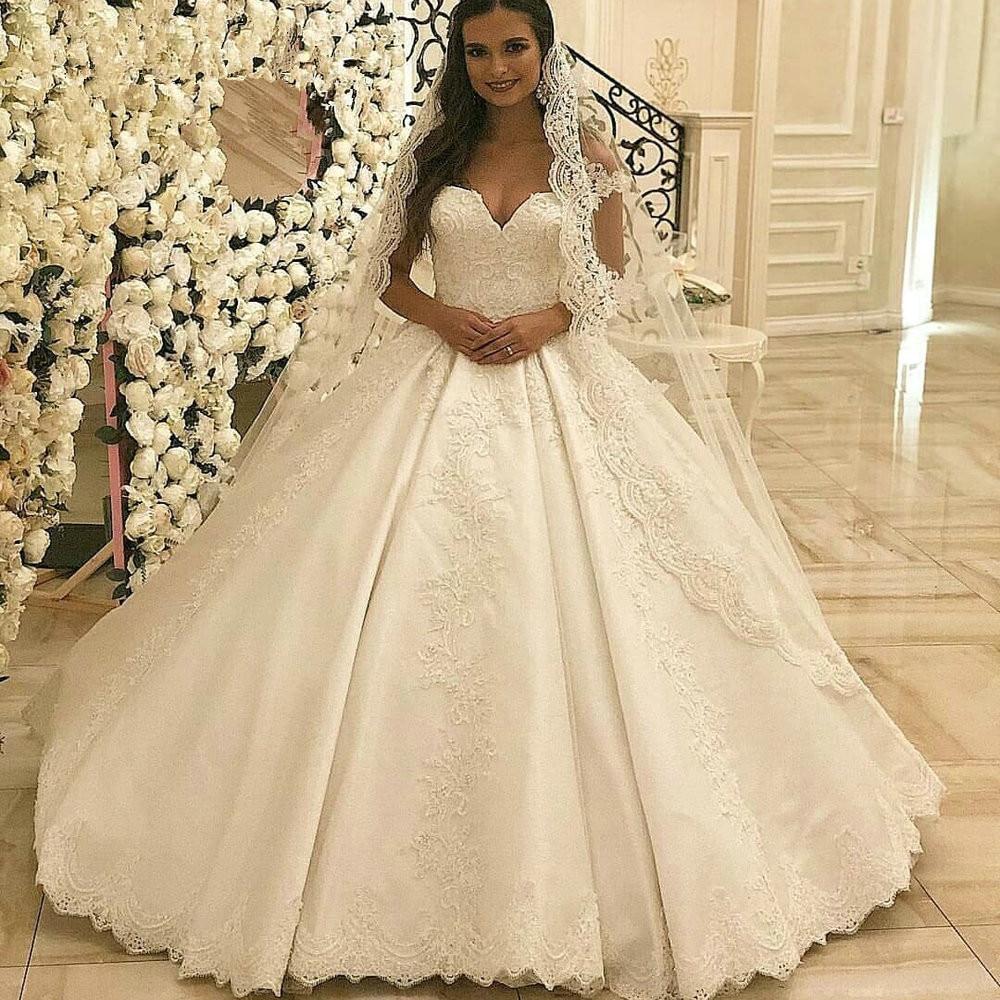 Lace Wedding Gown Robe De Mariee Custom Made Sweetheart Vestidos De Noiva Bride Dress 2019 Satin Wedding Dress Ball Gown