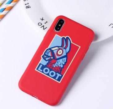 Karikatür iphone için kılıf 11 Pro Max X XR XS Max 7 8 artı 5 SE 6 6S artı Fornites sevimli katı renk kabuk