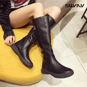 Image 2 - SWYIVY حذاء برقبة للركبة النساء 2019 الشتاء منصة الأحذية مشبك حذاء كاجوال امرأة أسود/براون طويل القامة التمهيد سستة حجم كبير 42