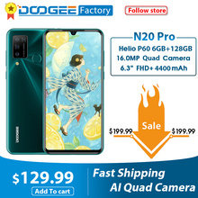 "Doogee N20 פרו Smartphone Quad מצלמות 6GB RAM 128GB ROM 6.3 ""FHD + אנדרואיד 10 OS 4400mAh הגלובלי גרסה טלפונים ניידים"