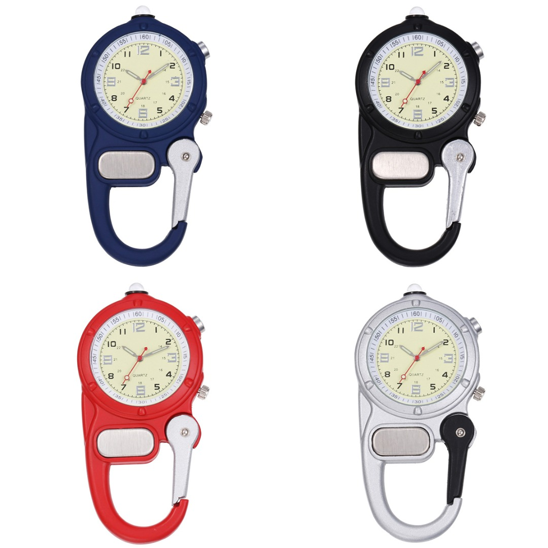 Vintage Mini Carabiner Clip Pocket Watch With Small Flashlight Portable Hook Up Backpack Carabiner Watch For Doctors Nurses