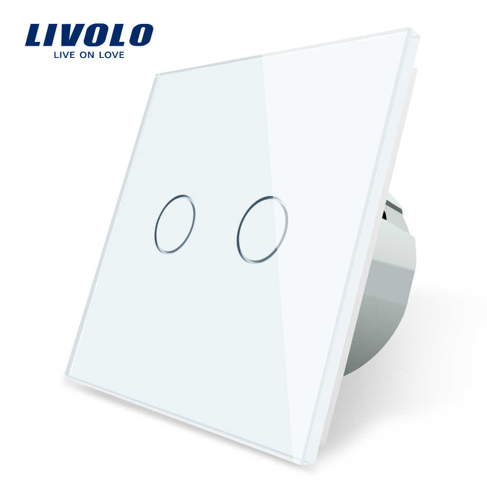 Livolo Eu Standaard 2 Gang 1 Manier Muur Touch Light Switch,Wall Power Sensor Schakelaar, 7 Kleuren Crystal Glass Panel, Met Led Backlight