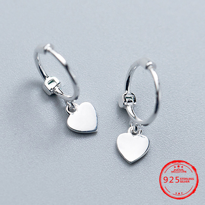925 Sterling Silver Heart Classic Fashion Earrings Women Ear Clip Beautiful Jewelry Birthday Gift For Teen Girl Ear Decoration image