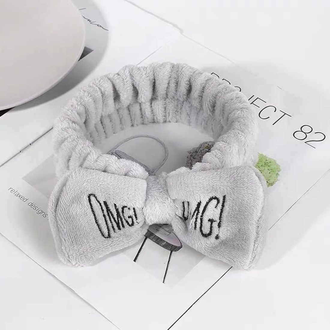 Nuevo OMG carta de terciopelo de Coral de arco de pelo de moda suave lavado de cara maquillaje máscara Yoga chica Bandana para el pelo tocado