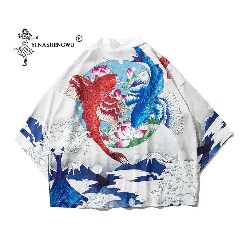 Japan Kimono Traditional Yukata Women Harajuku Carp Print Kimono Cardigan Femme Leisure Blouse Kimono Cosplay Costume Thin Shirt