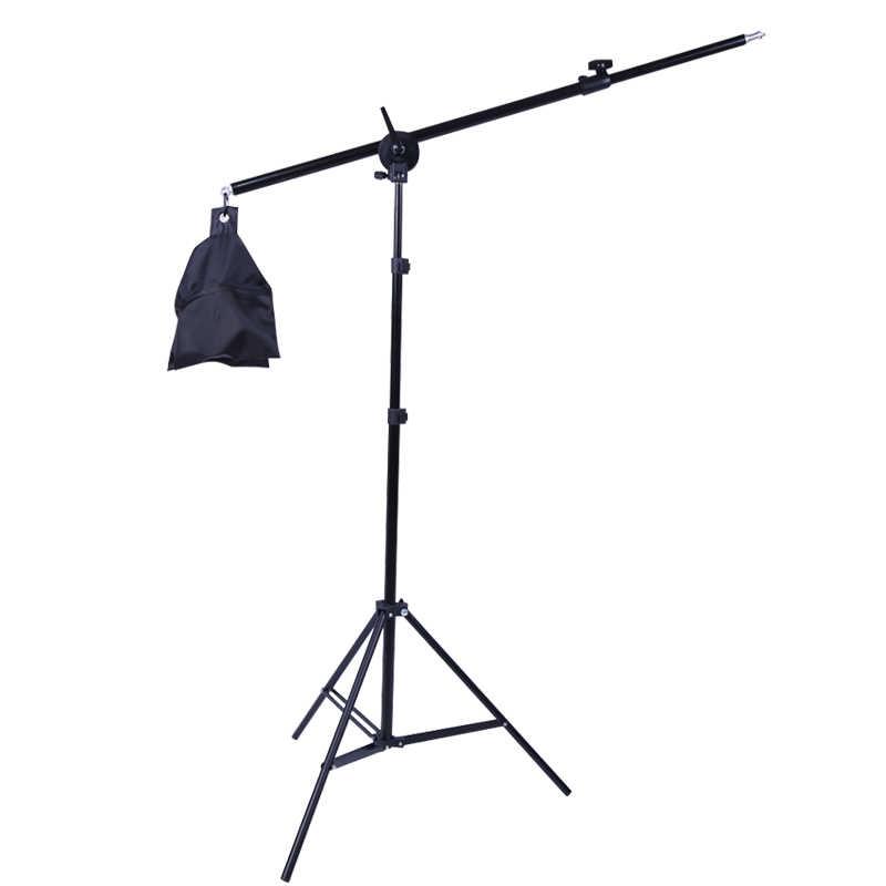 Estúdio de fotos 2m 2 em 1, suporte leve com 1.4m braço de boom e sandbag vazio para fotografias suporte softbox iluminação tripé fotografia