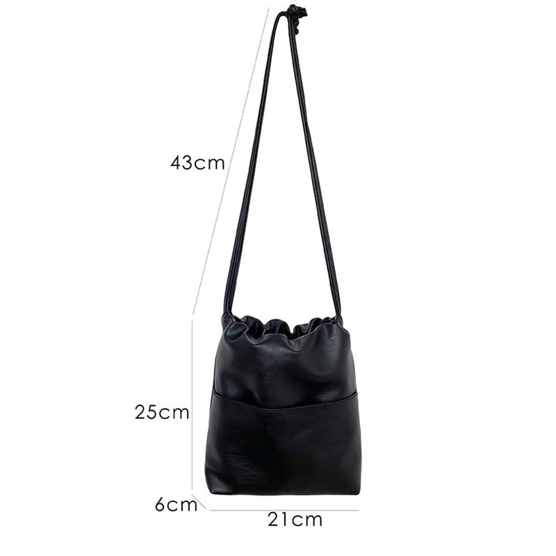 Image 5 - 2020 New Casual Women Bag Small Drawstring Bucket Bag PU leather  Soft Youth Handbag Ladies Crossbody Shoulder Bag Whole SaleShoulder  Bags