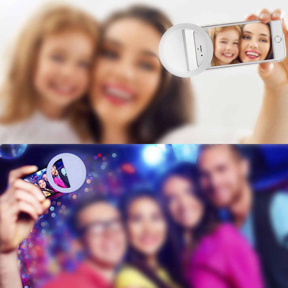 สีชมพู 36LED Selfie แหวนแสงโคมไฟ 3 ระดับแสงความมืดกลางคืน Selfie เติมแสงสำหรับโทรศัพท์มือถือ Photo ไฟ