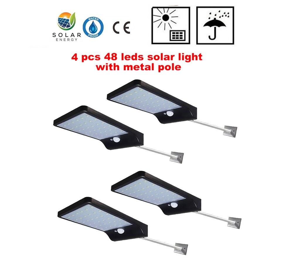 2/4pcs Adjustable Solar Light 48 LED PIR Motion Sensor Solar Lamp Three Modes Remote Control Outdoor Garden Street Yard Wall Lig