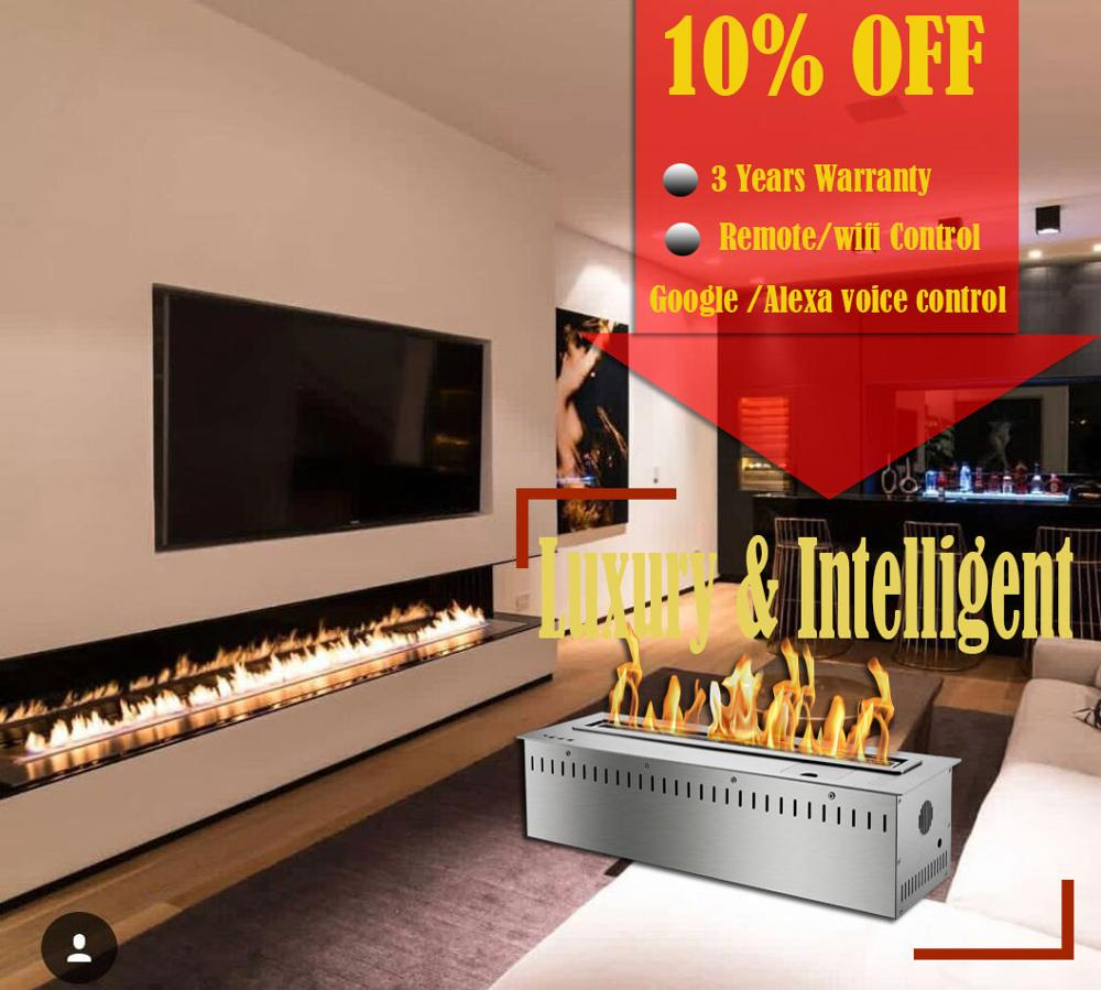 Inno-living Fire 36 Inch Indoor Ethanol Burner Alexa Voice Control Stainless Steel Ethanol Fireplace