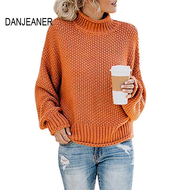 DANJEANER New Turtleneck Sweater Women Solid Casual Knitted Pullovers Fashion 2019 Female Warm Oversize Sweaters Tops For Women