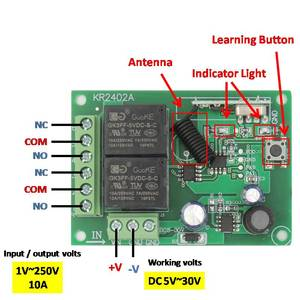 Image 3 - 433Mhz RF Remote Control Circuit Universal Wireless Switch DC 5V 12V 24V 2CH rf Relay Receiver and Keyfob Transmitter for Garage