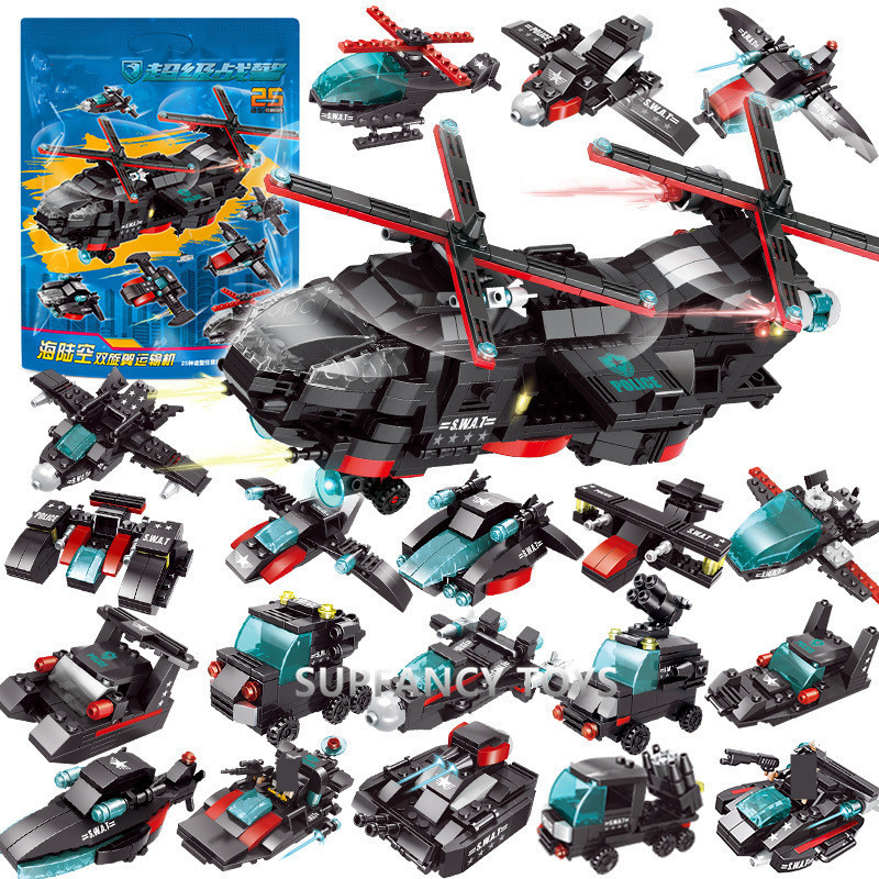 City Police SWAT CH-47 Helicopter Chinook Army Soldier Air Force SWAT Team Truck Model Bricks Building Blocks Sets Kids Toys