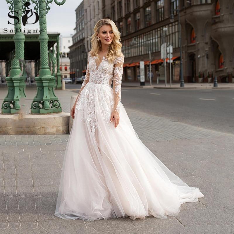 Long Sleeve Boho Wedding Dresses V neck Ivory Lace Appliques Beach Bridal...