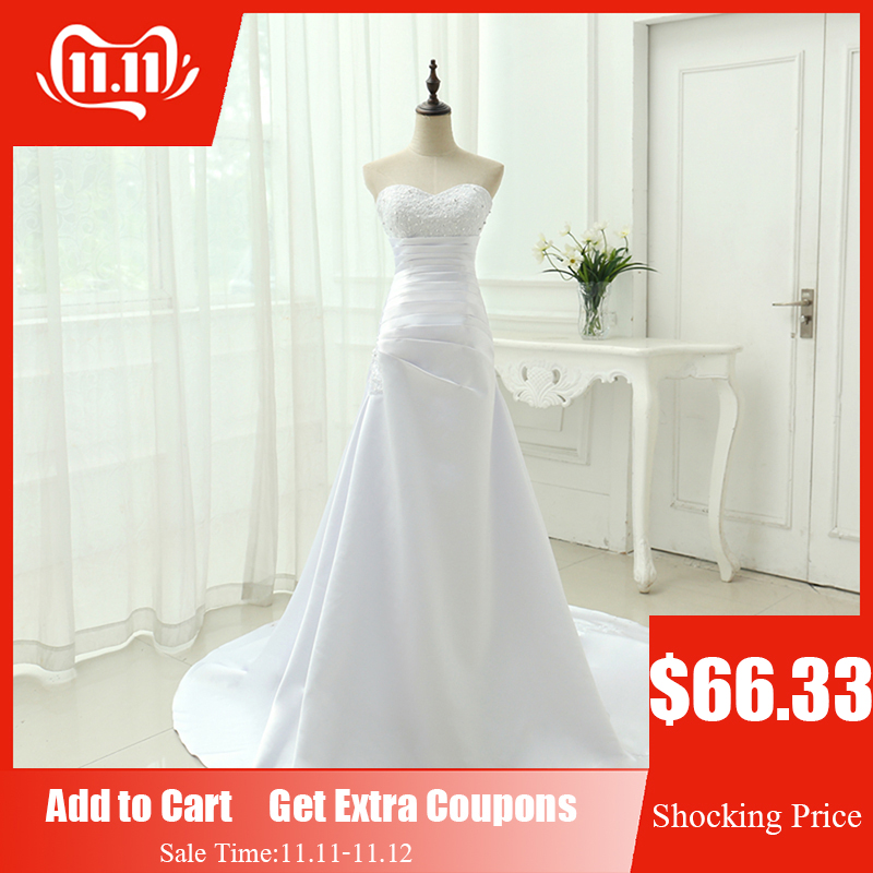 Cheap Plus Size Wedding Dress 2019 Beaded Strapless Bodice A Line Satin Bridal Gowns Vestido De Noiva New Robe De Mariage OW1019