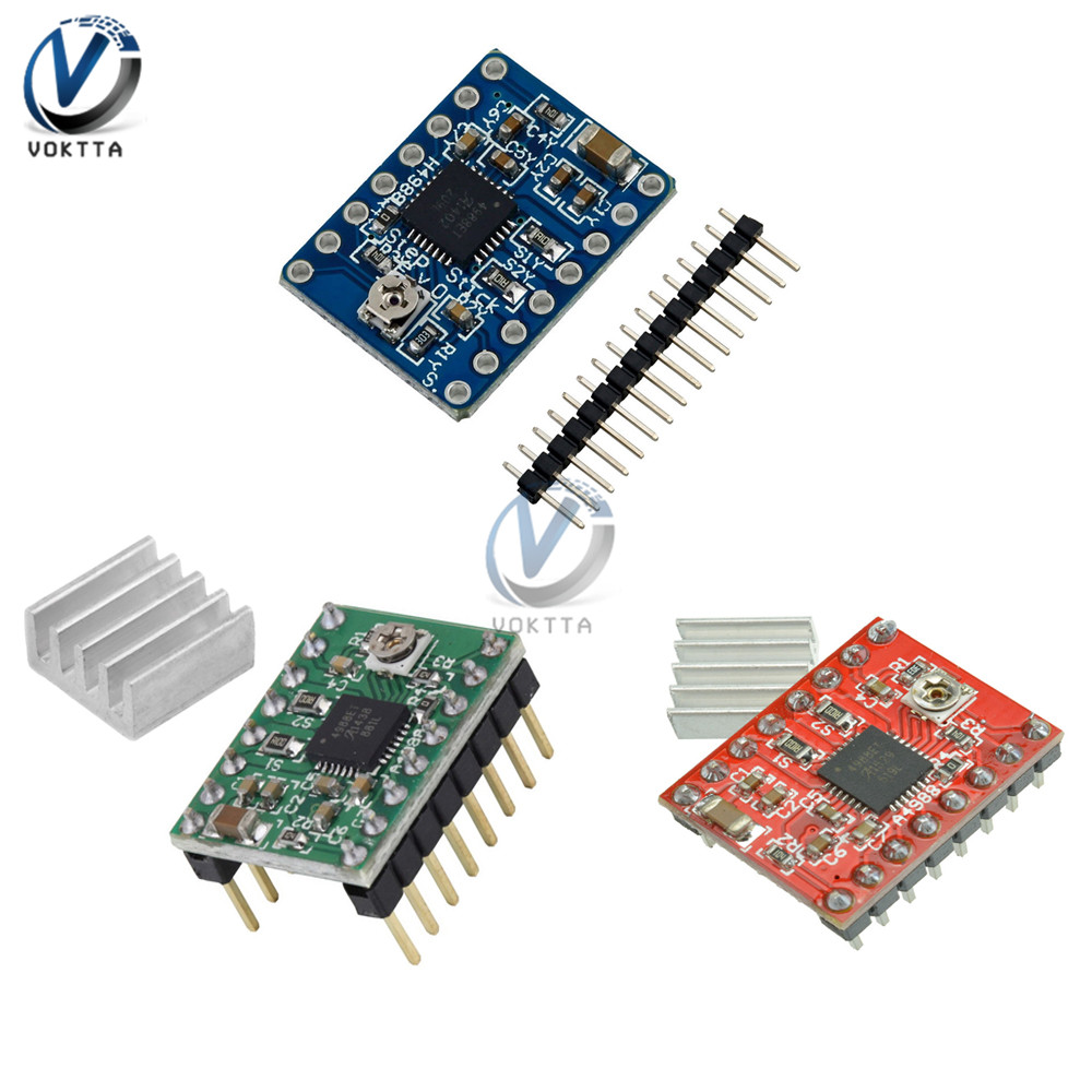 A4988 Stepper Motor Driver Module with Aluminum Heat Sink Reprap 3D Printer Parts Red Green Blue Board for Arduino