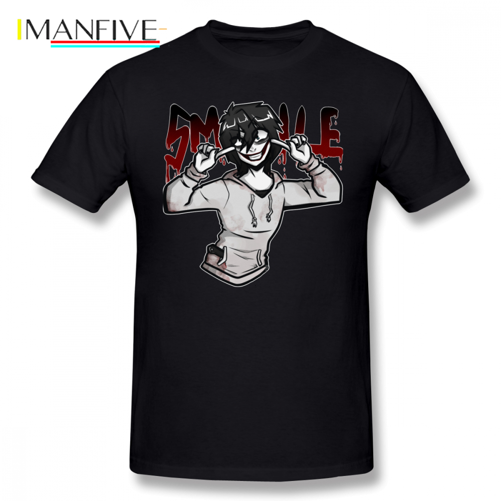 Creepypasta T Shirt Jeff The Killer T Shirt Male Awesome Tee Shirt Big Beach Graphic Short Sleeve 100 Cotton Tshirt in T Shirts from Men 39 s Clothing